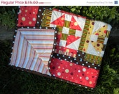 ON SALE Handmade Patchwork Quilt for Crib, Toddler, or Lap -dots and stripes