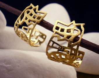 """Gold Plated Solid Sterling Silver Earrings- """"City"""""""