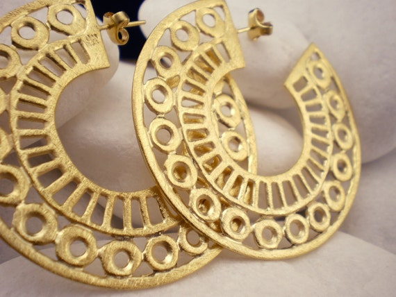 "Gold Plated Sterling Silver Hoop Earrings - ""Lace"""