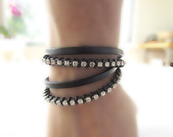 Leather Rhinestone Wrap Bracelet: Black Leather with Silver-Plated Rhinestones