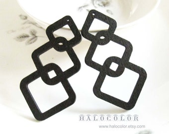 6PCS - 20x50mm Pretty Black Geometry Wooden Charm/Pendant MH248 01