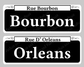 NEW ORLEANS SIGNS - Instant Download Street Table Signs Set of 10 - Mardi Gras - Centerpiece Wedding Signs - Bourbon St - Table Decoration