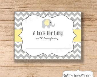 Bookplate Card / Elephant Bookplate Printable Sheets / Chevron Bookplate / Yellow/Grey Printable Bookplate Stickers
