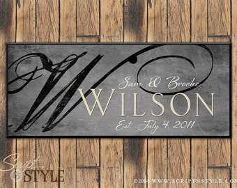 Personalized Family Name Sign, Family Established Sign, Last Name Sign, Wall Art, Wedding Sign, Wedding Anniversary Gift
