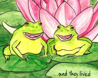 163. frog couple funny romantic greeting card - choose any 6 designs