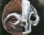 Sloth Art Print, Animal Skull, 8x10 picture, gothic decor, goth wall art, skeleton Artwork, Black and White Illustration, Sloth Gift