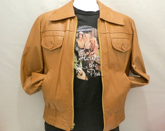 Mens Brown Leather Jacket with Butterfly Collar, Size Small (38)