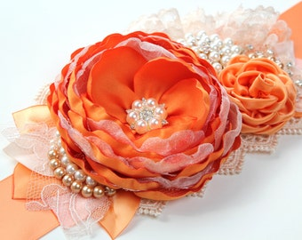 "Orange Sash ""Eleanor""/ Flower Wedding Ribbon Bridal Sash/ Handmade Accessory"