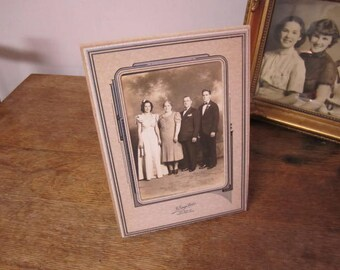 Wonderful vintage Engagement Photograph in envelope style frame.