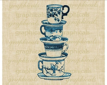 Stacked English china teacups Turquoise blue Instant Digital download image for  transfer to burlap towels hot mat apron tag card.  No. 2089