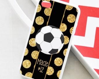 Soccer Polka Dot iPhone Case - Monogrammed Soccer iPhone Case - iPhone 4 Case - iPhone 5 Case - iPhone 5s Case
