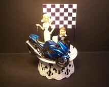 Motorcycle Ninja ZX-14R Blue Street Bike Bride and Groom Funny Wedding Cake Topper