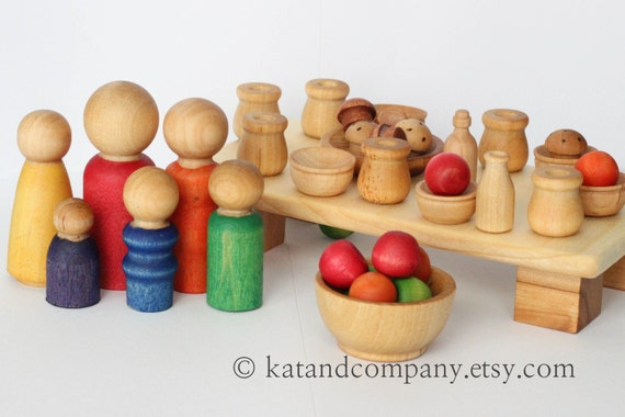 Ready to Ship Wood family brunch Kitchen wooden little people set.