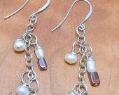 Reserved for Peggy...Pearl and Garnet Earrings-Sterling Silver Earrings-Gemstone Jewelry -Waterfall Earrings