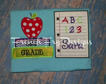 Notebook and School Books with Name Appliqued Back To School T-Shirt Customized
