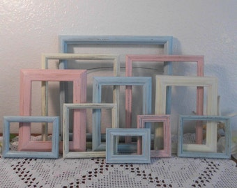 Pastel Frame Set Rustic Shabby Chic Distressed Picture Photo Wall Gallery Collection Beach Cottage Baby Nursery Home Decor Shower Gift