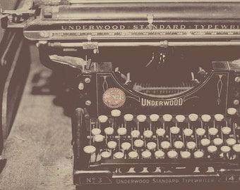 Typewriter Decor, Typewriter Photo, Gift For Author, Gift For Writer, Underwood Typewriter, Vintage Typewriter, Room Decor, Home Art Decor