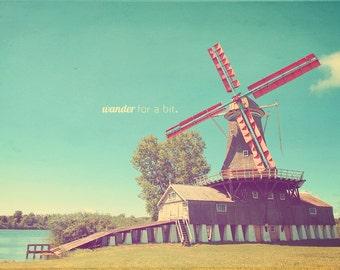 Dutch Windmill, Red Windmill, Windmill Photo, Windmill Gift, Windmill Art, Windmill Photography, Windmill Print, Windmill Photograph