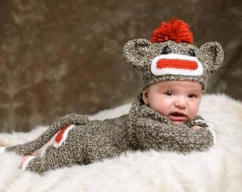 Crochet Sock Monkey Set  0-3 months