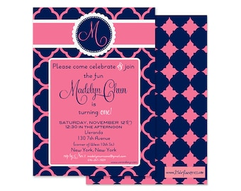 PREPPY 1st Birthday Invitation, Pink and Navy, Digital or Professionally Printed Invitation