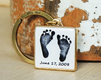 Baby Footprint Keychain - Double Sided - Child's Footprints - Mother's Day - New Baby - Father's Day - Infant Loss - Baby