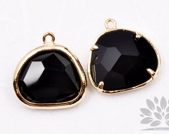 F119-02-G-BL // Gold Framed Black Glass Stone Pendant, 2Pcs
