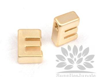 "IP002-G-E// Matt Gold Plated Simple Initial ""E"" Pendant, 2 pcs"