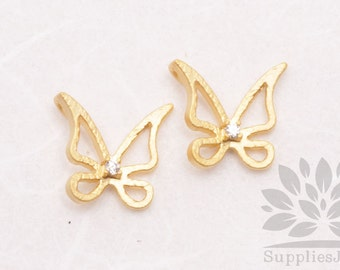 P571-MG// Matt Gold Plated Cubic Pointed Butterfly Pendant, 2 pcs