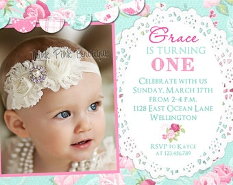 Cottage Chic Birthday Invitation -  Pink and Blue Floral Printable Girl Birthday Party Invite