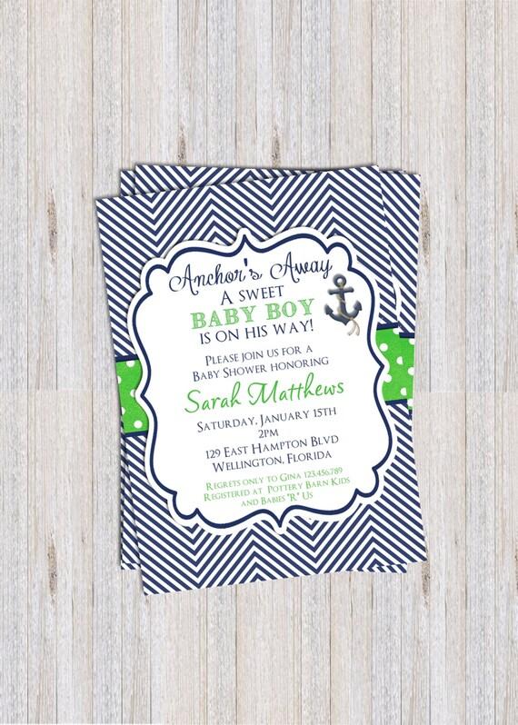 Chevron Boy Baby Shower Invitation Nautical Baby Boy Navy Blue Lime Green Printable Custom Invite
