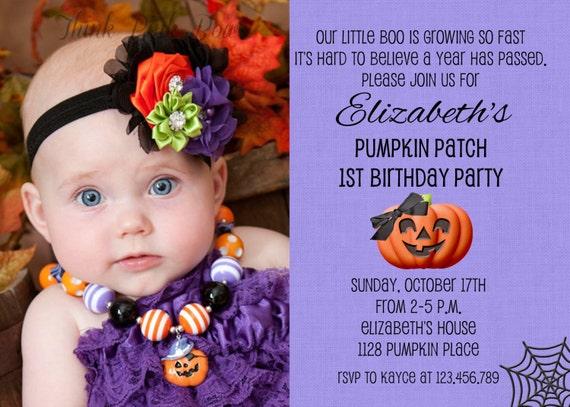 Purple Halloween Girl Birthday Invitation