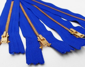 Metal Zippers- 6.5 inch16 cm closed bottom ykk brass teeth zips- (4) pieces - Royal Blue  Zippers