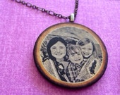 Custom Photo Necklace (Long) - Wood Pendants, Great Gift for Mothers, Grandmothers, Birthdays