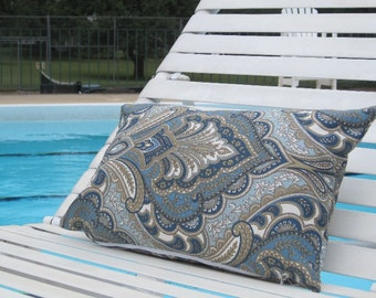 "Outdoor Pillows, Outdoor Pillows, Blue Paisley Lumbar,Pillows, Lumbar Pillows,12""x18"" inch decorative pillow,outdoor decor,chair pillow"
