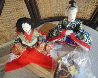 Vintage pair Hina Dolls Japanese Hina Court Dolls Emperor and Empress