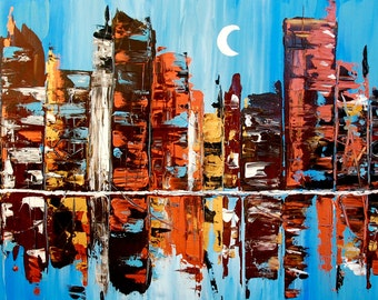 24x48 Abstract City Painting Acrylic on Canvas
