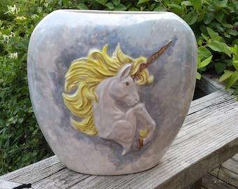 """Unicorn Pillow vase, Mystical Pillow Vase,Flower Vase, Renaissance Vase, 8"""" tall, Ready to paint, Ceramic u-paint, Ceramic bisque"""