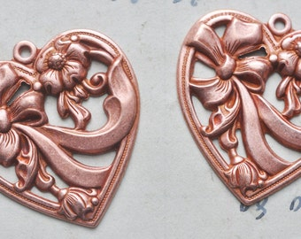 Two Neo Victorian heart charms with bow, Rose Ox