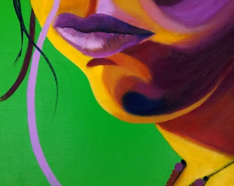 Lips, flourescent, lime green, magenta, pop art, womans face, portrait, mouth, full lips, strand of hair, oil painting, bright colors