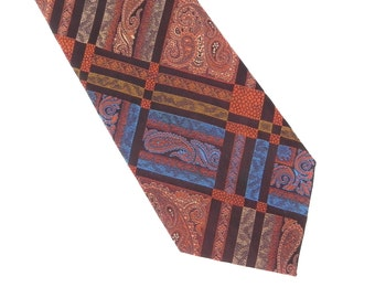 Brittania Polyester Necktie, Vintage Men's Tie in Rust, Blue, Gold, and Brown, 1970 Mens Necktie