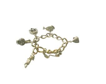 Vintage Charm Bracelet 1960s Monet Gold Tone w/ 5 Monet Charms