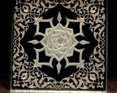 dotpolka3 - Rose - Moon - Filigree - Custom Art Glass Coaster - for Laura