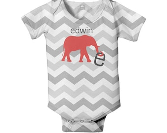 Chevron Baby Bodysuit, Personalized Elephant Gender Neutral Boy Girl Infant Onepiece, Snapsuit