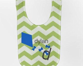 Chevron Baby Bib, Personalized Kite Bib, Baby Bib, Custom Infant Bibs