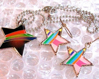 Take 30% Off  You're a STAR Baby Vintage Enamel on Silver STAR Necklace & Earring SET