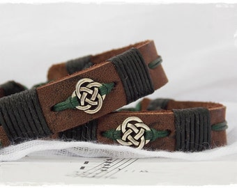 Men's Leather Bracelet, Leather Celtic Bracelet, Irish Norse Bracelet, Gaelic Leather Bracelet, Nordic Leather Cuff, Leather Jewelry For Men