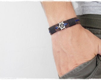 Nautical Bracelet, Nautical Leather Bracelet, Wheel Chram Bracelet, Nautical Wheel Leather Cuff Bracelet, Men's Cuff, Nautical Wristband