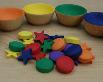 Montessori Counting Sorting Wooden Rainbow Circles and Stars Sensory Toy 24 Sorting Pieces (Bowls not included)