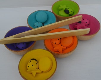 Counting Sorting Patterns Bright Rainbow Bowls Assortment and Tongs Deluxe Set
