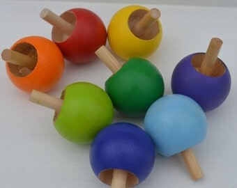 Classic Wooden Top Montessori & Waldorf Inspired 'Little Gum Ball""